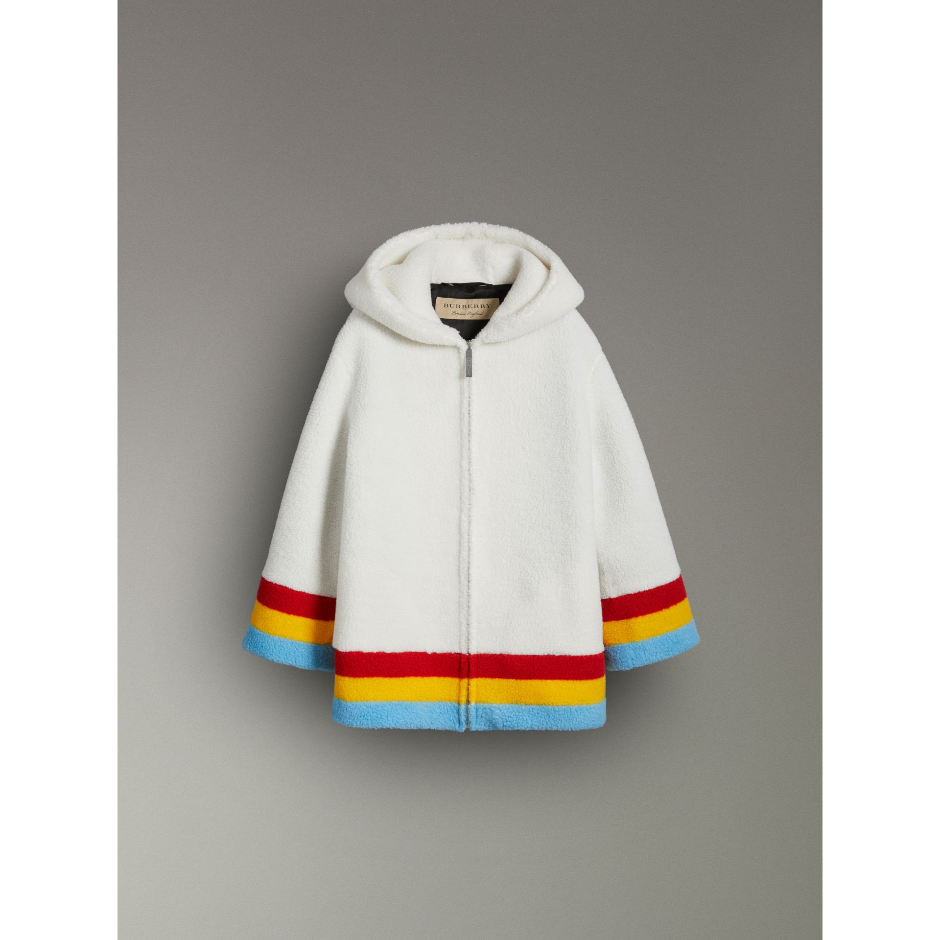Striped Detail Faux Shearling Hooded Jacket in Off White - Women | Burberry United Kingdom - gallery image 3