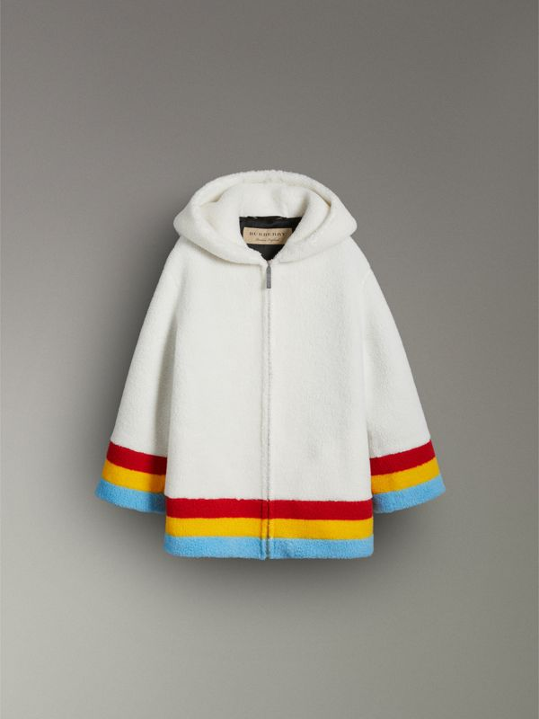 Striped Detail Faux Shearling Hooded Jacket in Off White - Women | Burberry - cell image 3