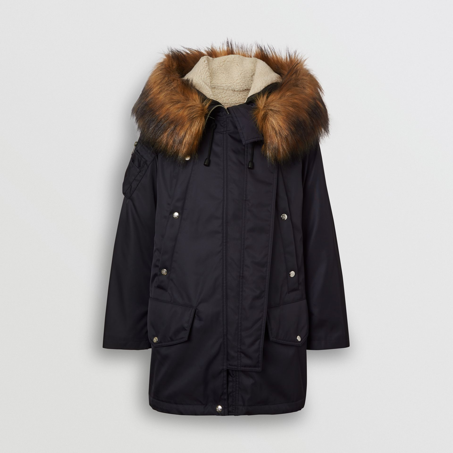 Detachable Faux Fur Trim Hood Parka in Dark Navy - Women | Burberry Australia - gallery image 3