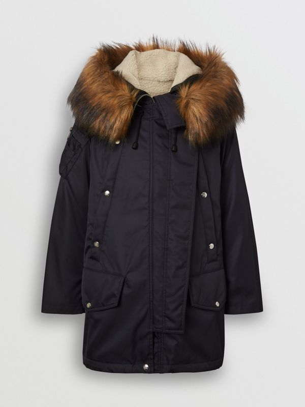 Detachable Faux Fur Trim Hood Parka in Dark Navy - Women | Burberry - cell image 3