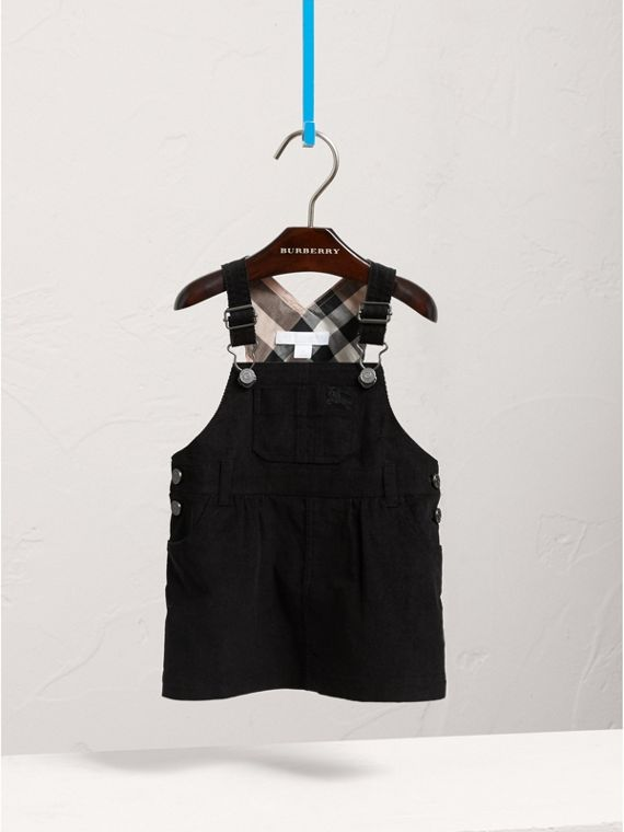 Cotton Corduroy Pinafore Dress in Black | Burberry Canada - cell image 2