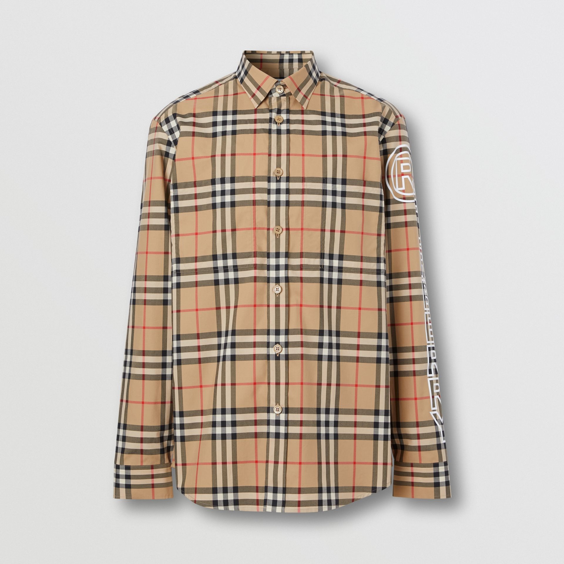 Logo Print Vintage Check Cotton Poplin Shirt in Archive Beige - Men | Burberry - gallery image 3