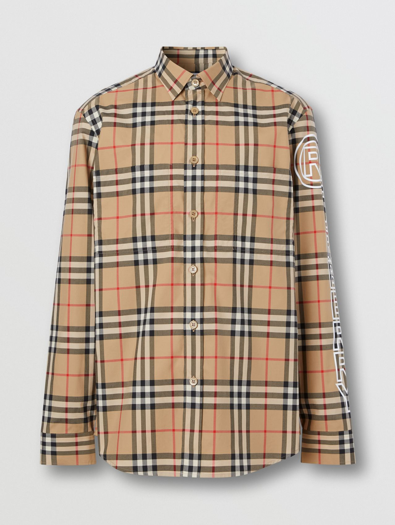 Logo Print Vintage Check Cotton Poplin Shirt in Archive Beige
