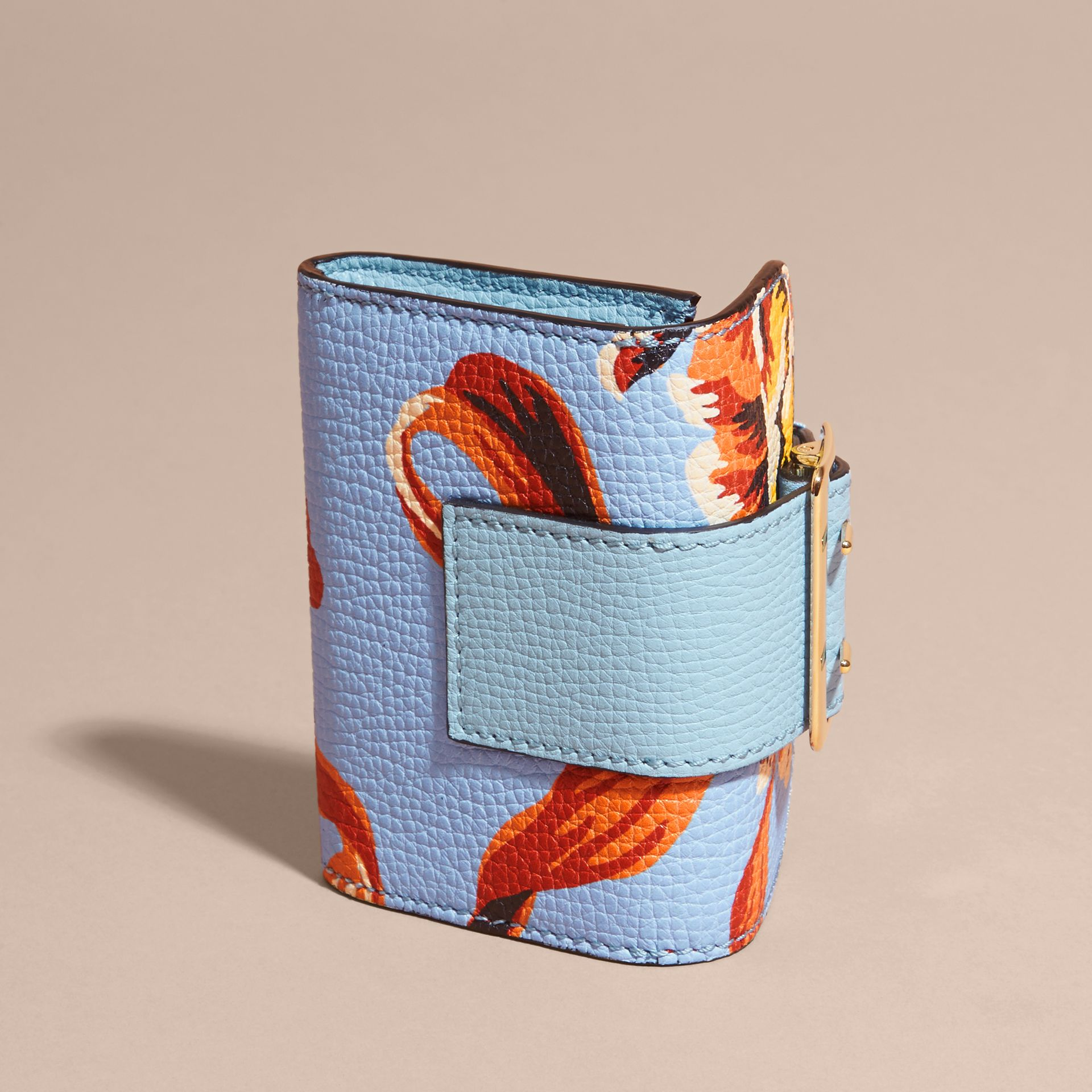 Peony Rose Print Leather Card Case in Light Blue/vibrant Orange - gallery image 4