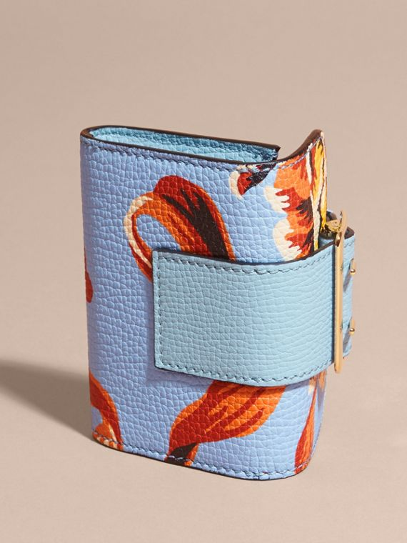Peony Rose Print Leather Card Case in Light Blue/vibrant Orange - cell image 3