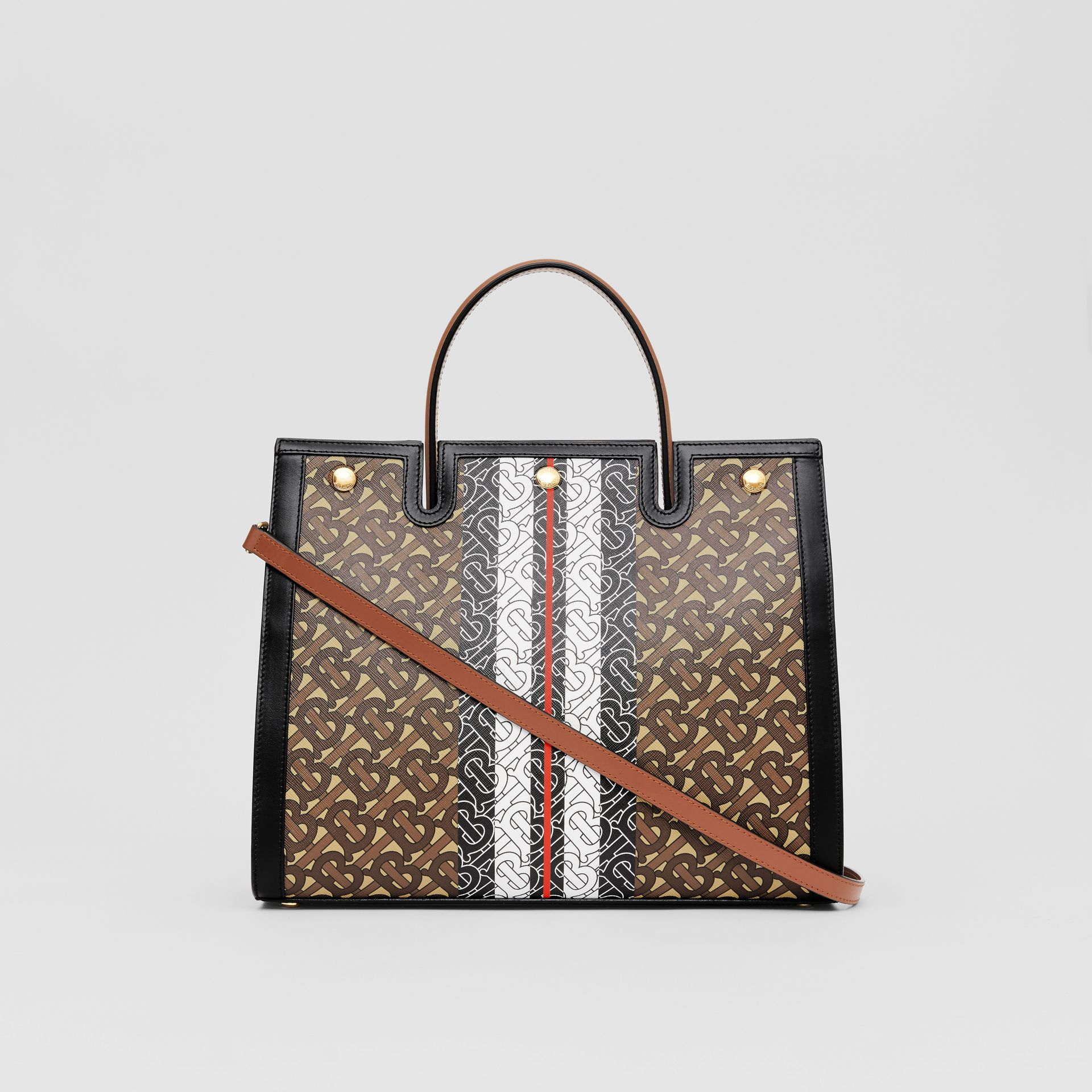 Medium Monogram Stripe E-canvas Title Bag in Bridle Brown - Women | Burberry - gallery image 7