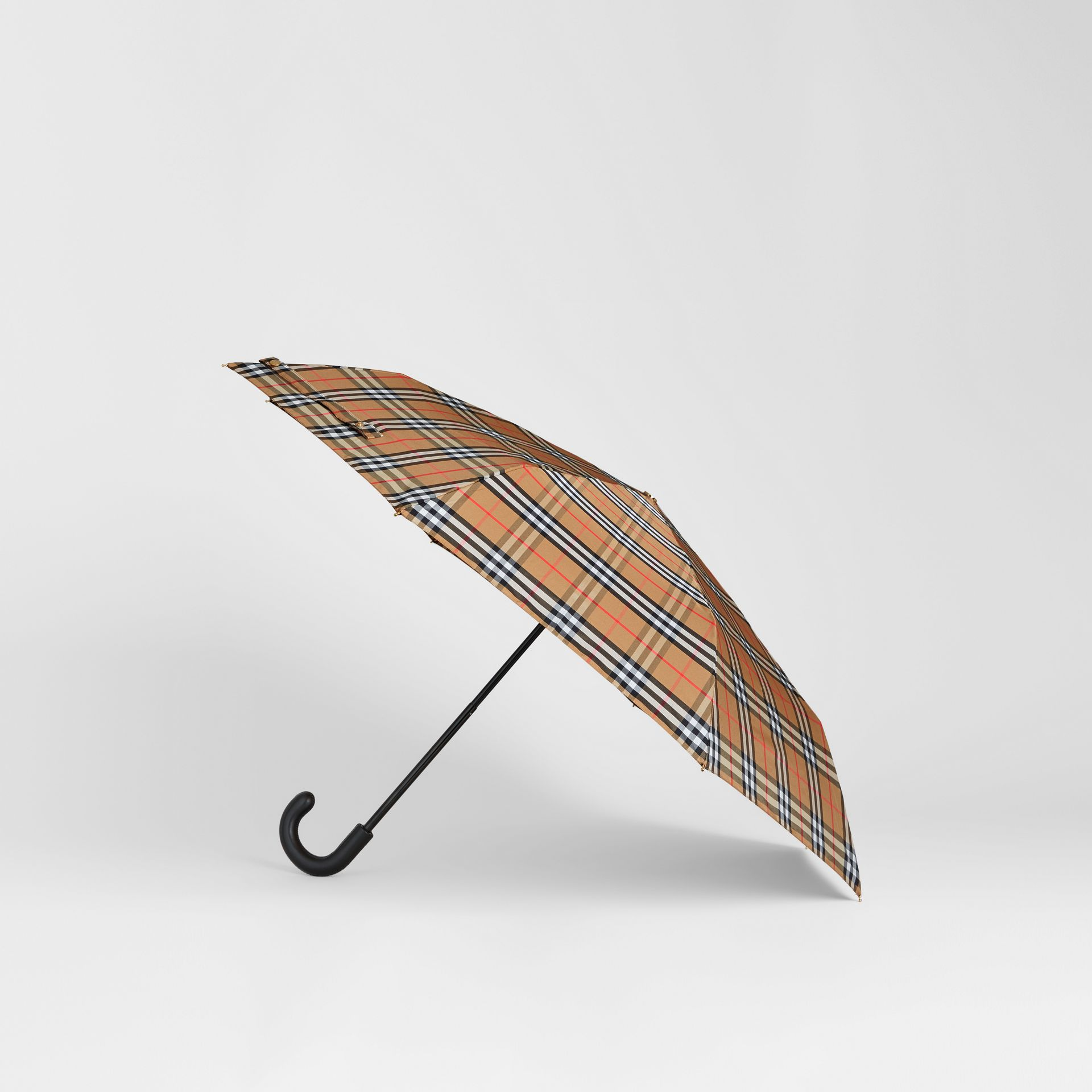 Vintage Check Folding Umbrella in Antique Yellow/black | Burberry - gallery image 4