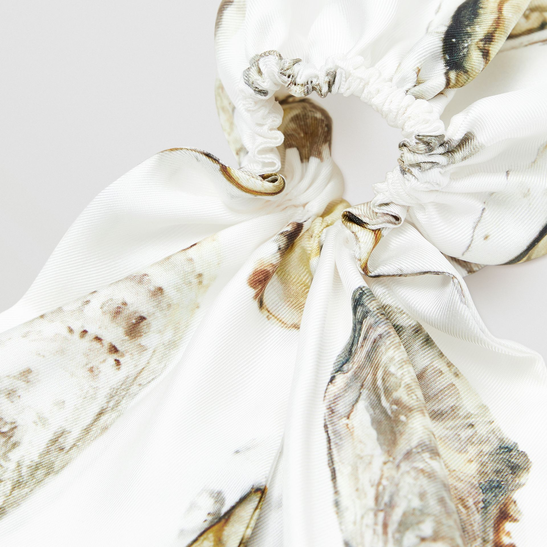 Oyster Print Silk Hair Scarf in White | Burberry - gallery image 1