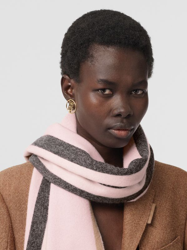 Reversible Icon Stripe Cashmere Scarf in Alabaster | Burberry - cell image 2
