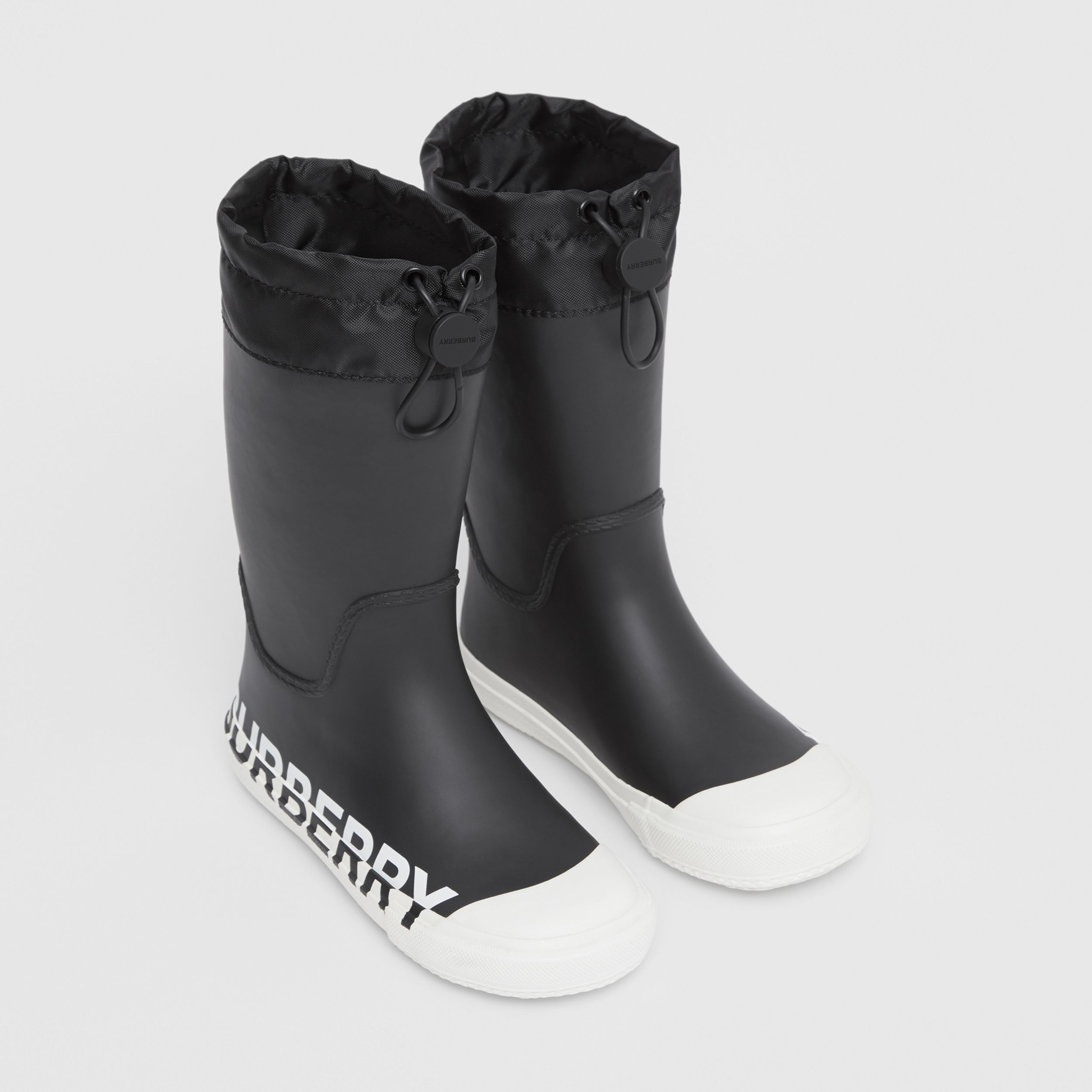 Logo Print Two-tone Rubber Rain Boots in Black - Children | Burberry - 1