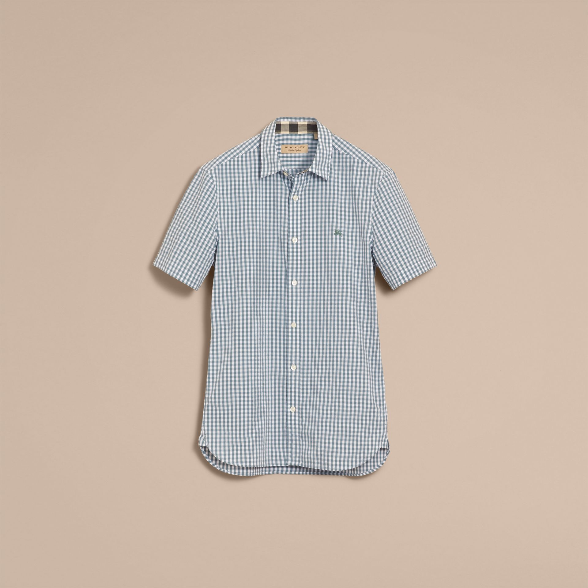 Short-sleeved Gingham Cotton Poplin Shirt in Dusty Teal Blue - Men | Burberry - gallery image 4