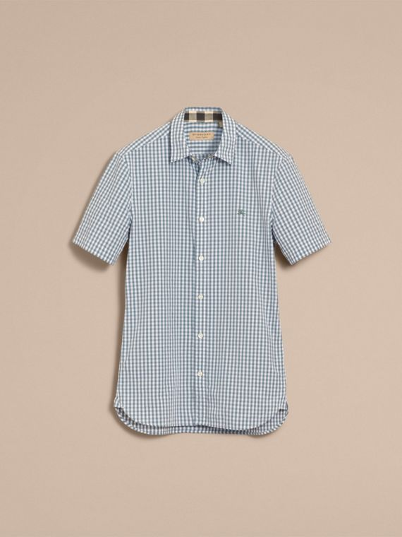 Short-sleeved Gingham Cotton Poplin Shirt in Dusty Teal Blue - Men | Burberry - cell image 3