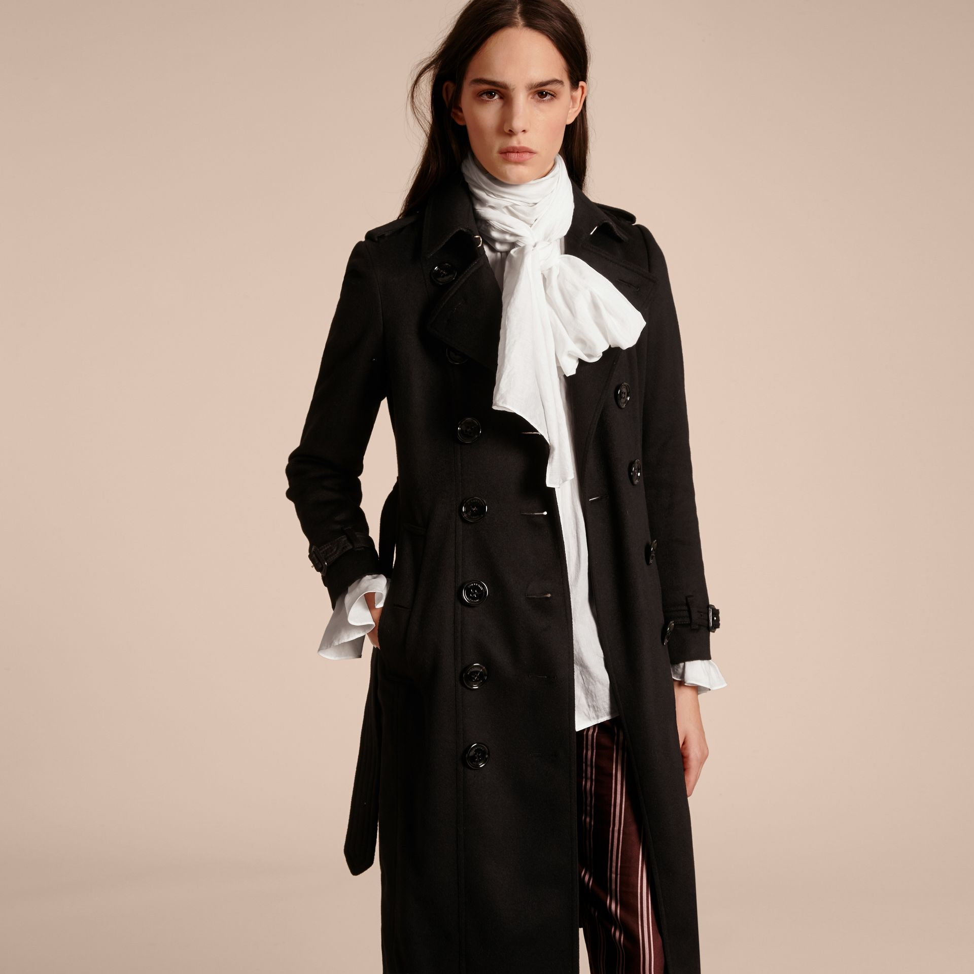 Black Sandringham Fit Cashmere Trench Coat Black - gallery image 7