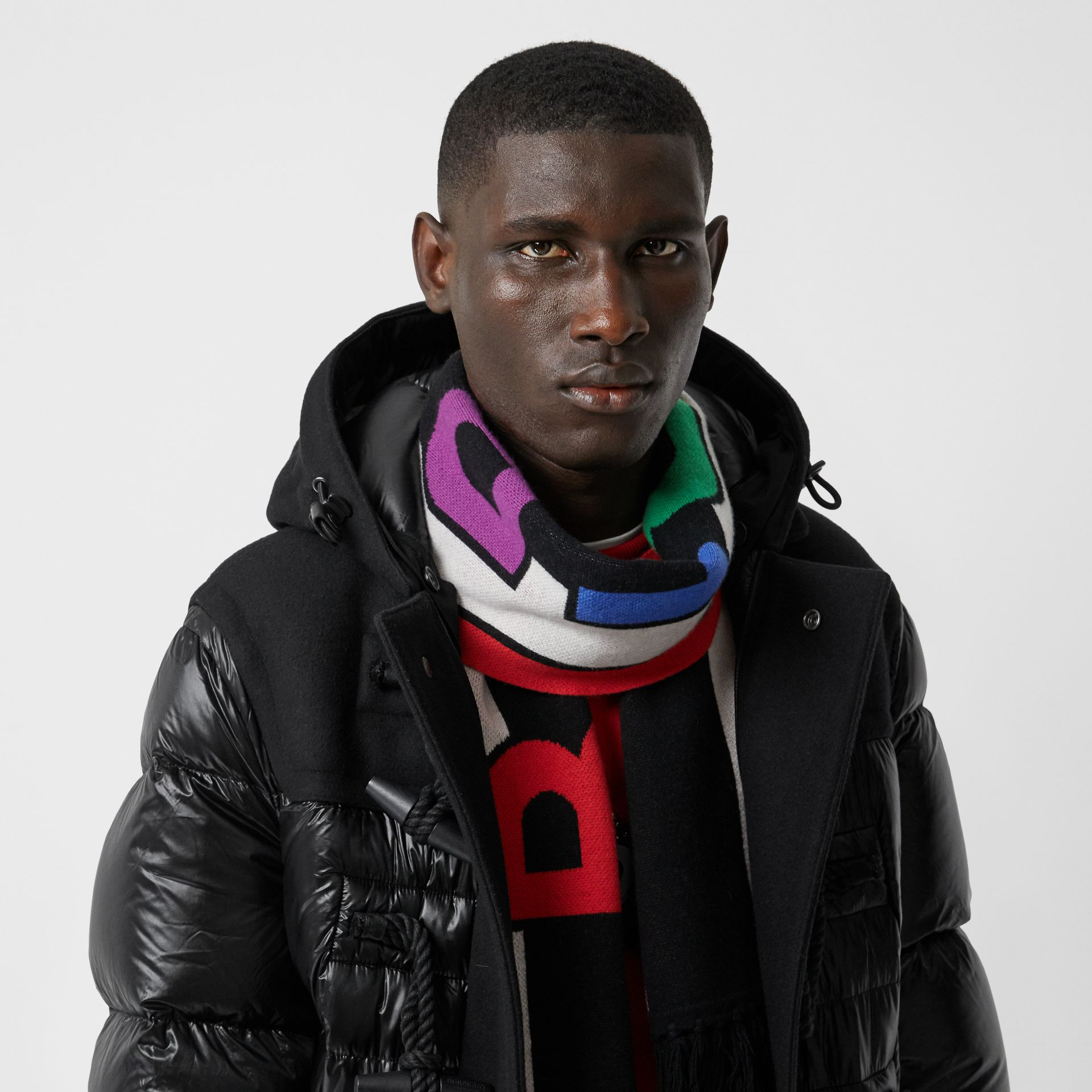 Logo Cashmere Jacquard Scarf in Multicolour | Burberry United States - gallery image 3