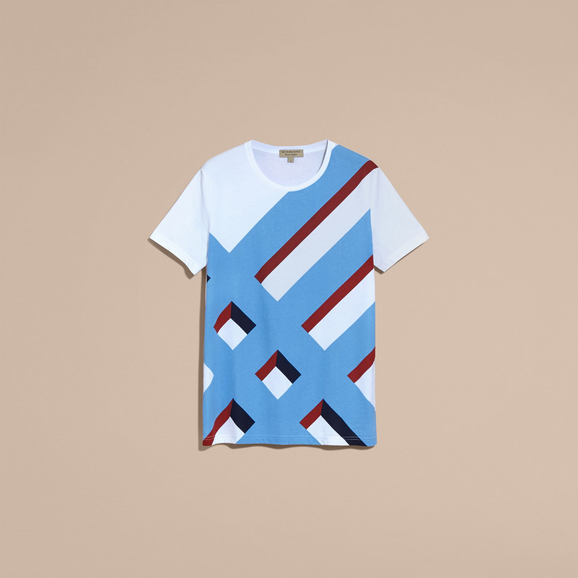 Abstract Check Print Cotton T-shirt - gallery image 4