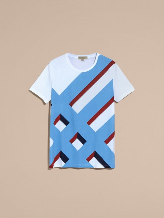Abstract Check Print Cotton T-shirt - cell image 3