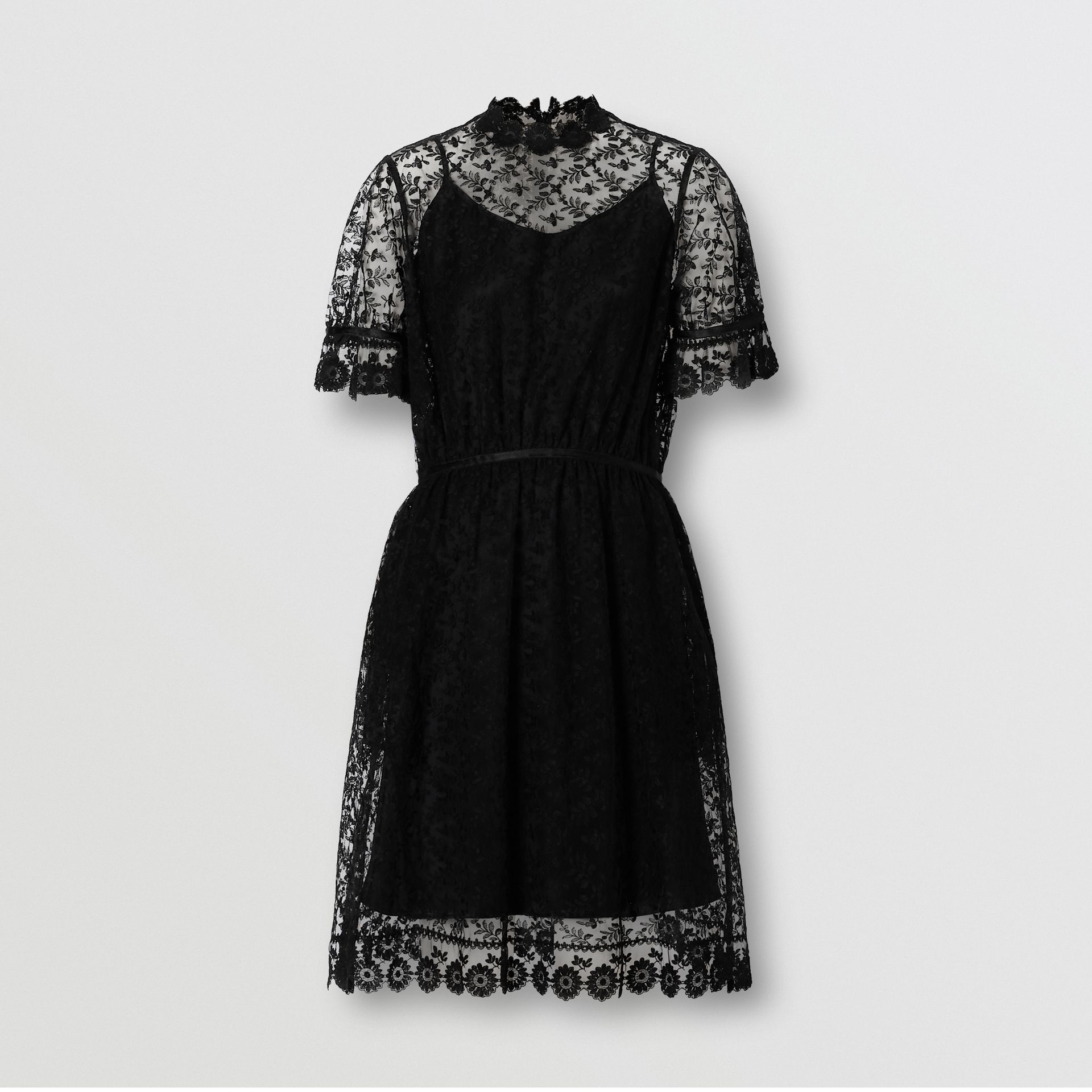 Floral Embroidered Tulle Dress in Black - Women | Burberry - gallery image 3