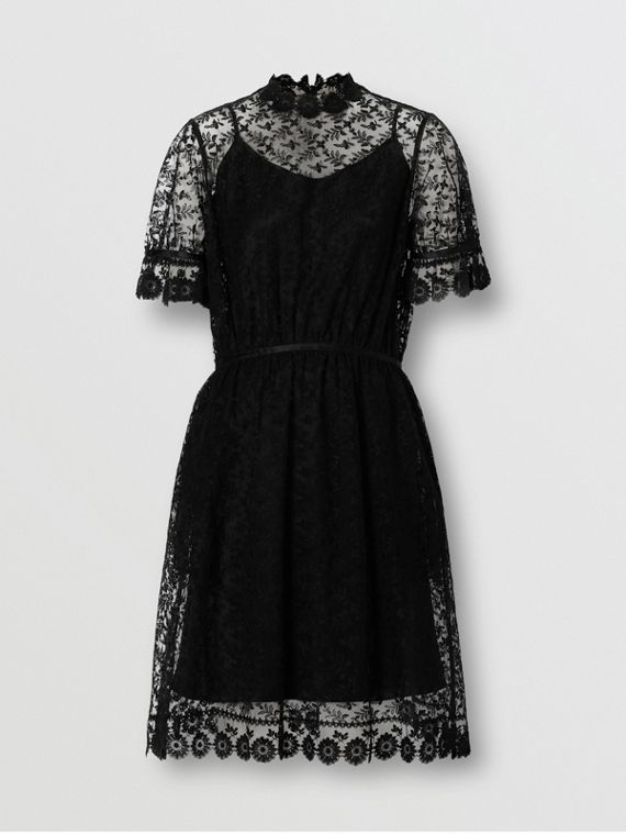 Floral Embroidered Tulle Dress in Black