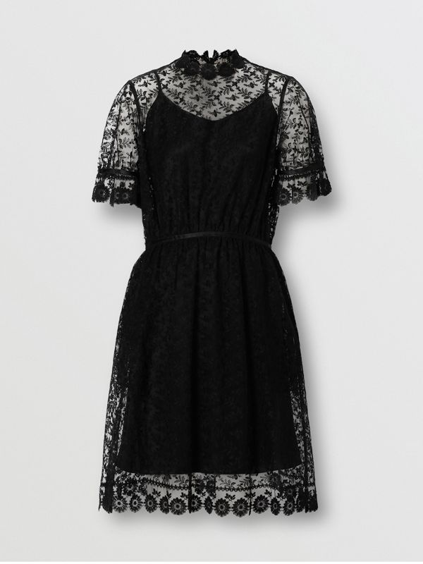 Floral Embroidered Tulle Dress in Black - Women | Burberry - cell image 3