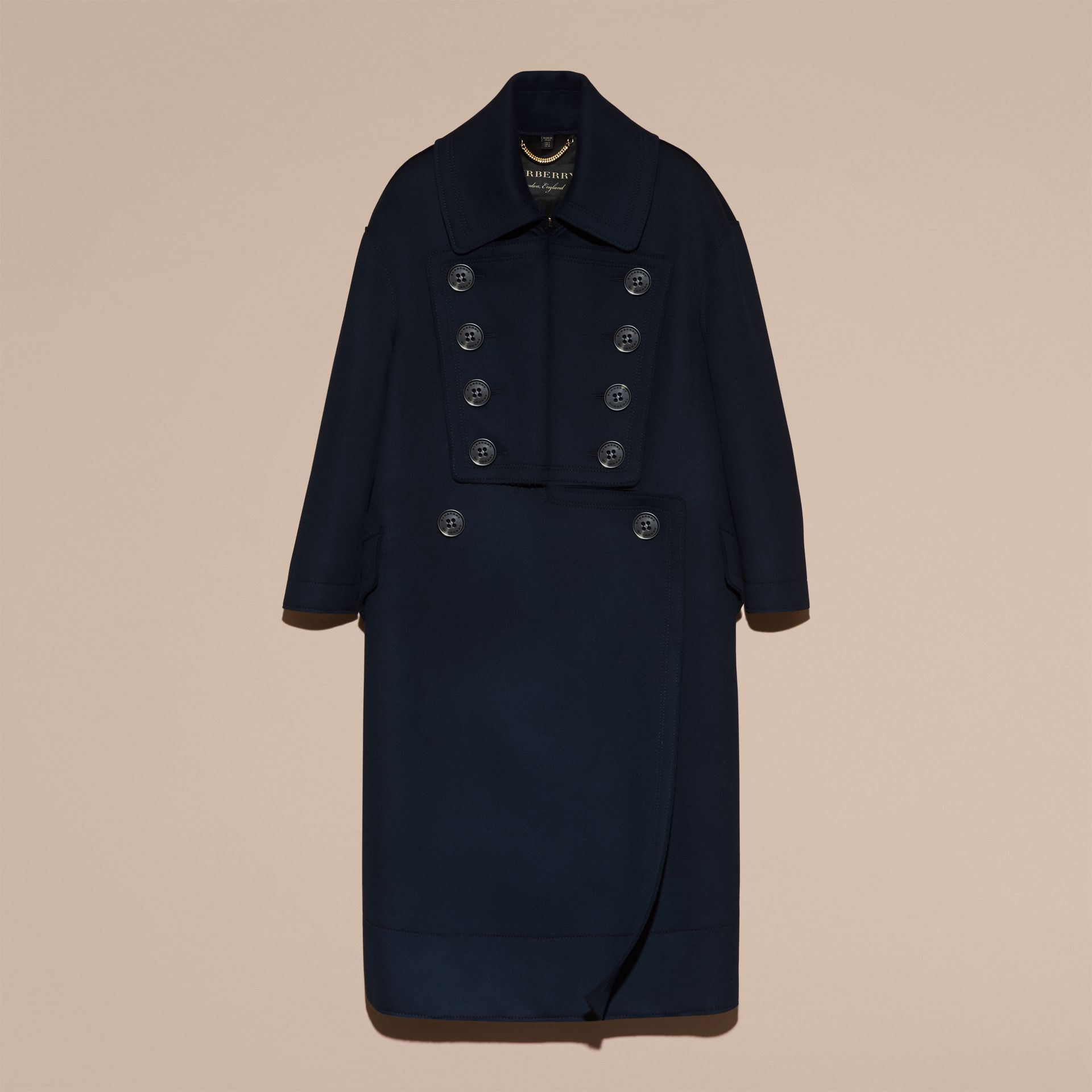 Marine Manteau oversize en laine de coupe longue - photo de la galerie 4