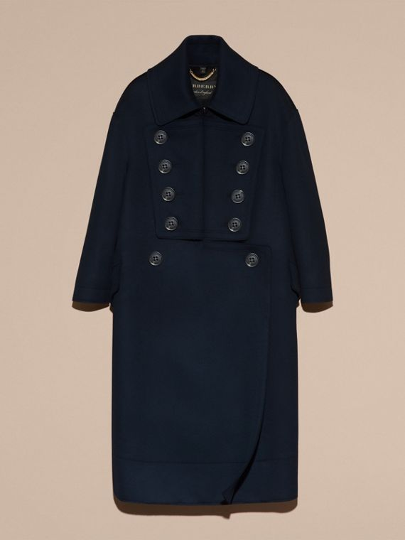 Navy Cappotto oversize dal taglio lungo in lana - cell image 3
