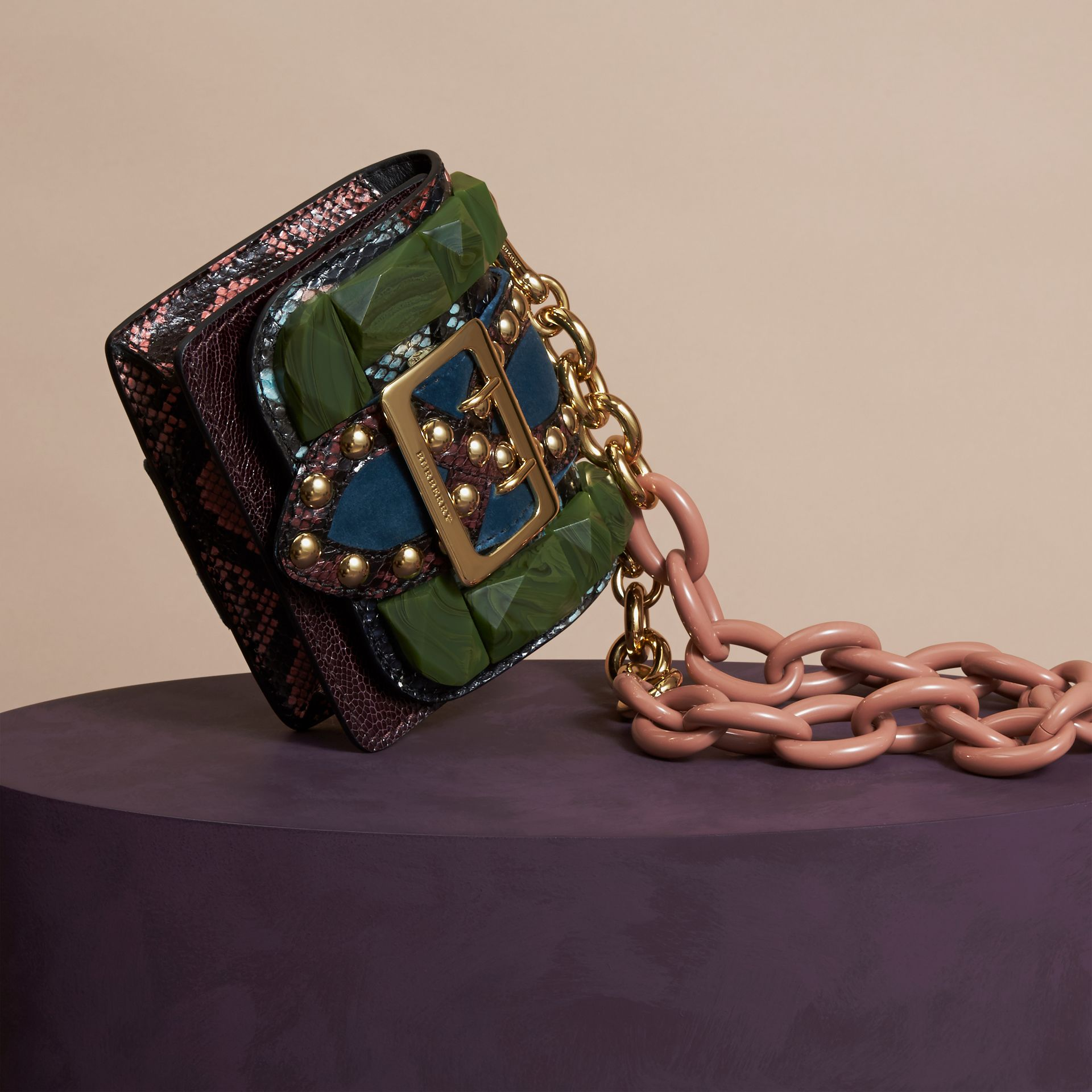 Turquoise green The Mini Square Buckle Bag in Ostrich, Snakeskin and Velvet - gallery image 6