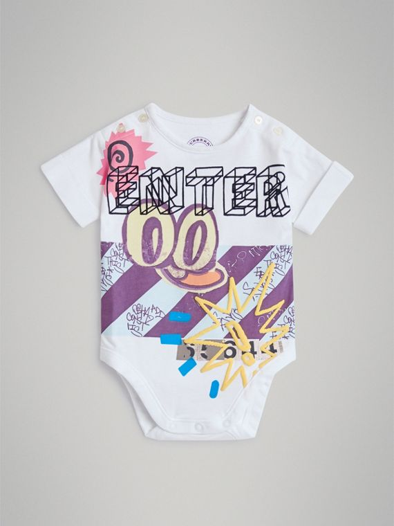 Enter Graphic Cotton Bodysuit in White
