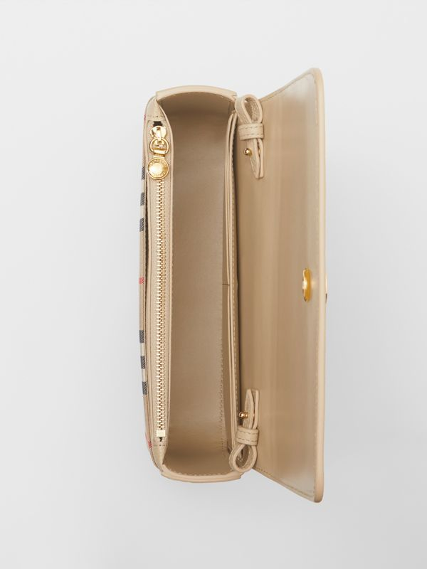 Small Leather and Vintage Check Crossbody Bag in Light Beige - Women | Burberry United Kingdom - cell image 3