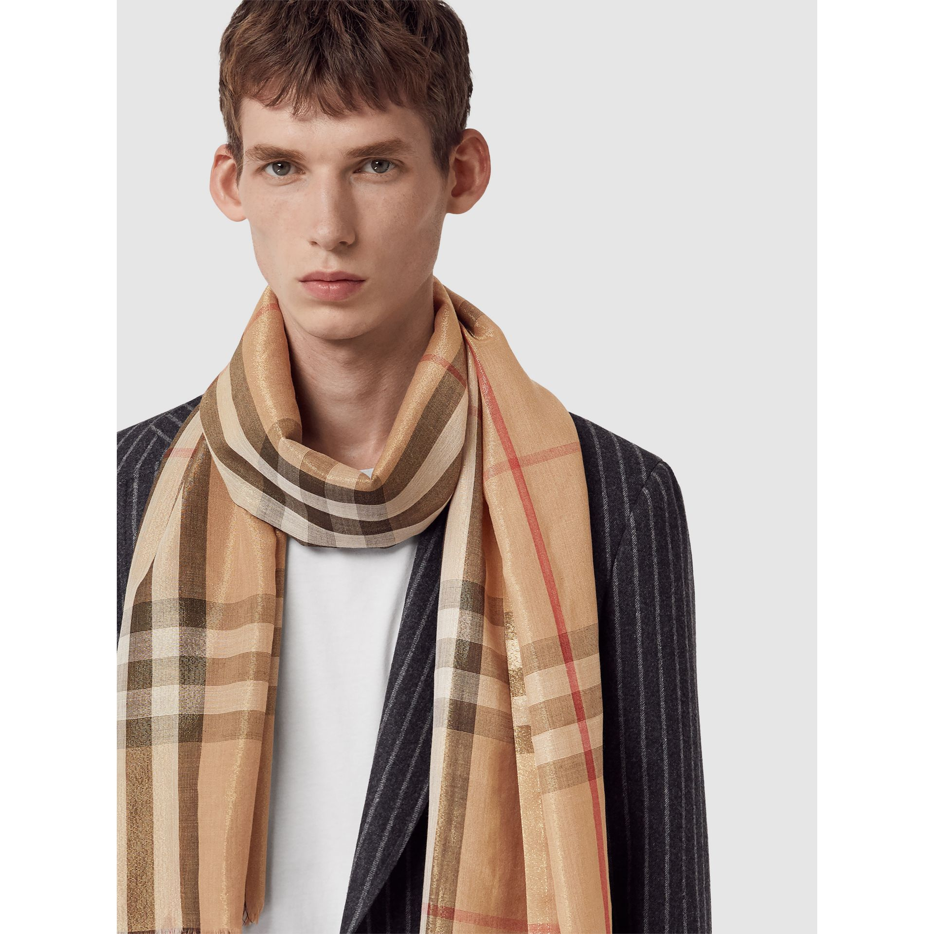 Metallic Check Silk and Wool Scarf in Camel/gold - Women | Burberry Canada - gallery image 6