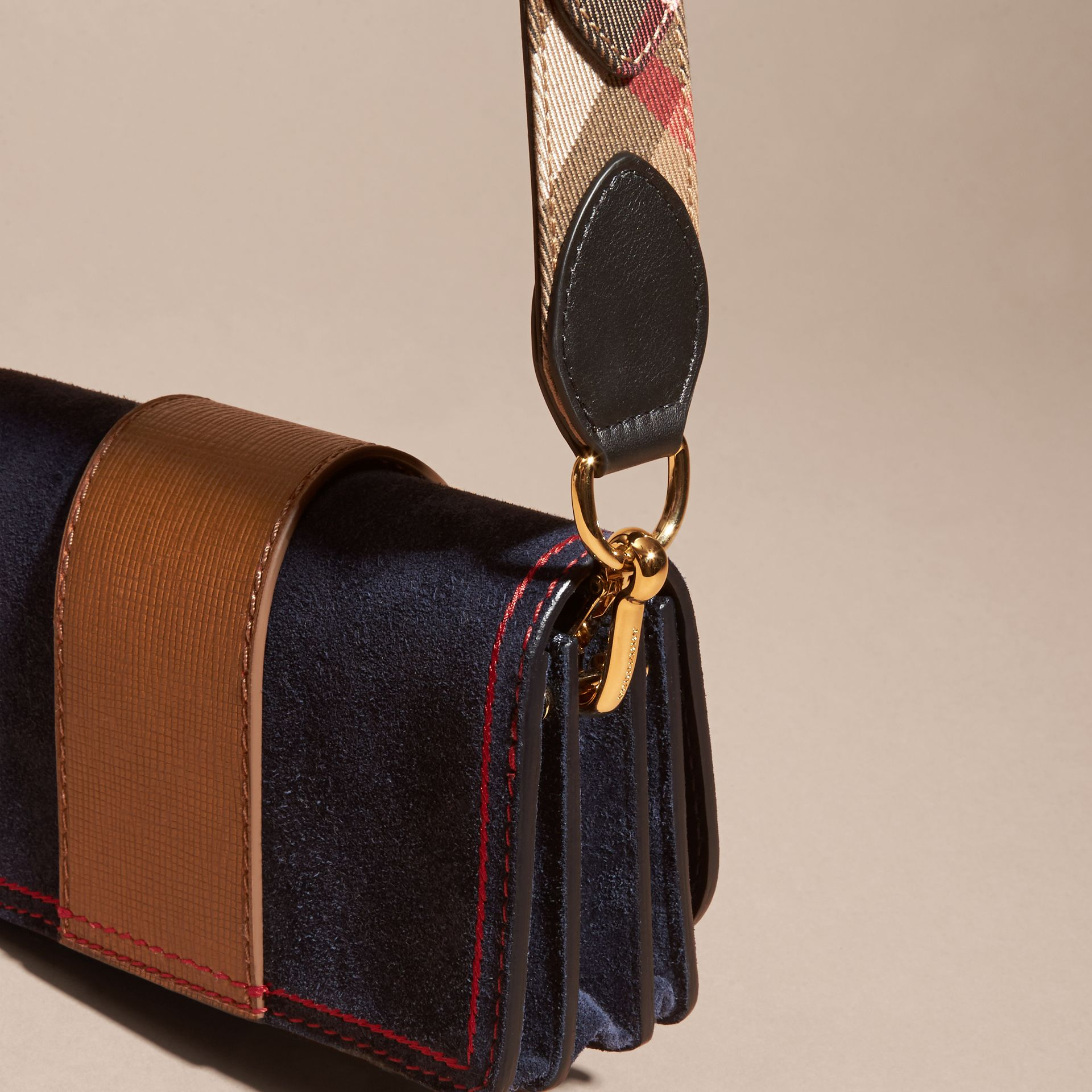 The Small Buckle Bag in Suede with Topstitching Ink / Tan - gallery image 4