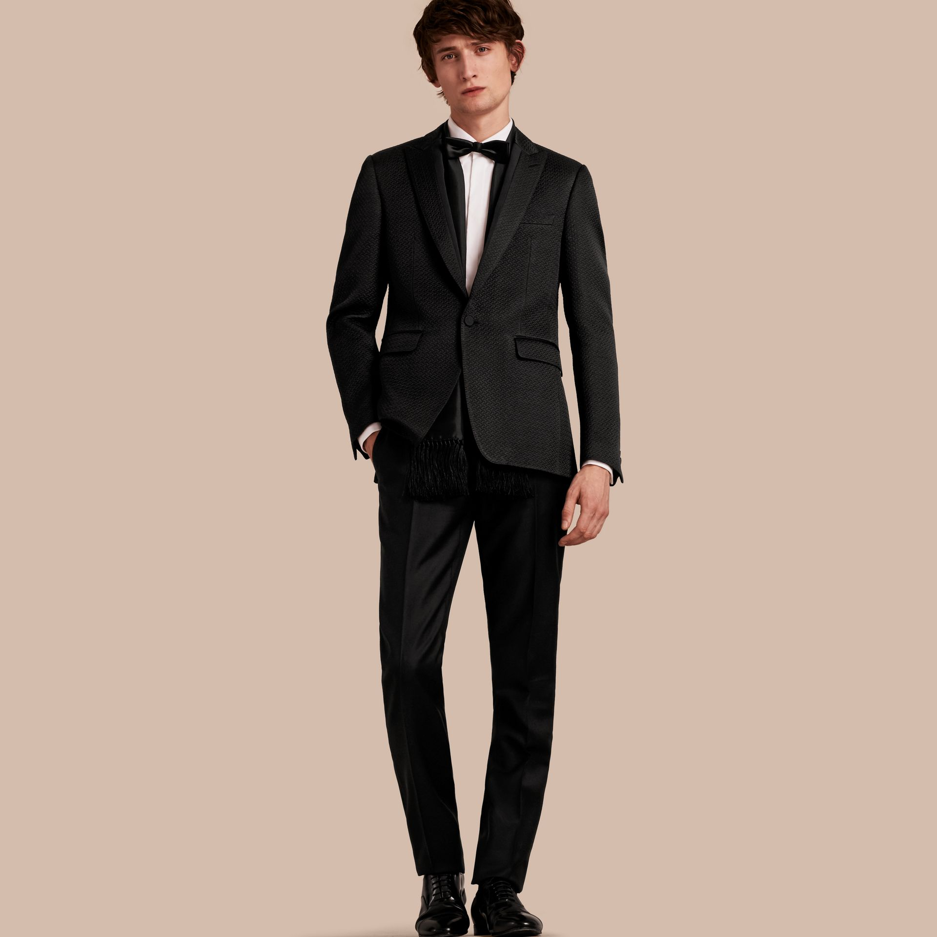 Black Slim Fit Textured Cotton Silk Blend Tailored Jacket - gallery image 1