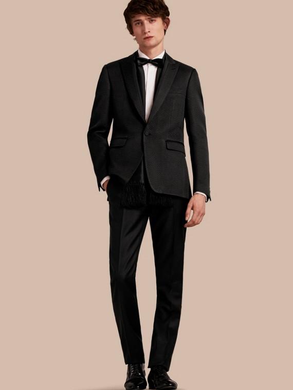 修身剪裁高質感棉質絲綢混紡合身裁製外套