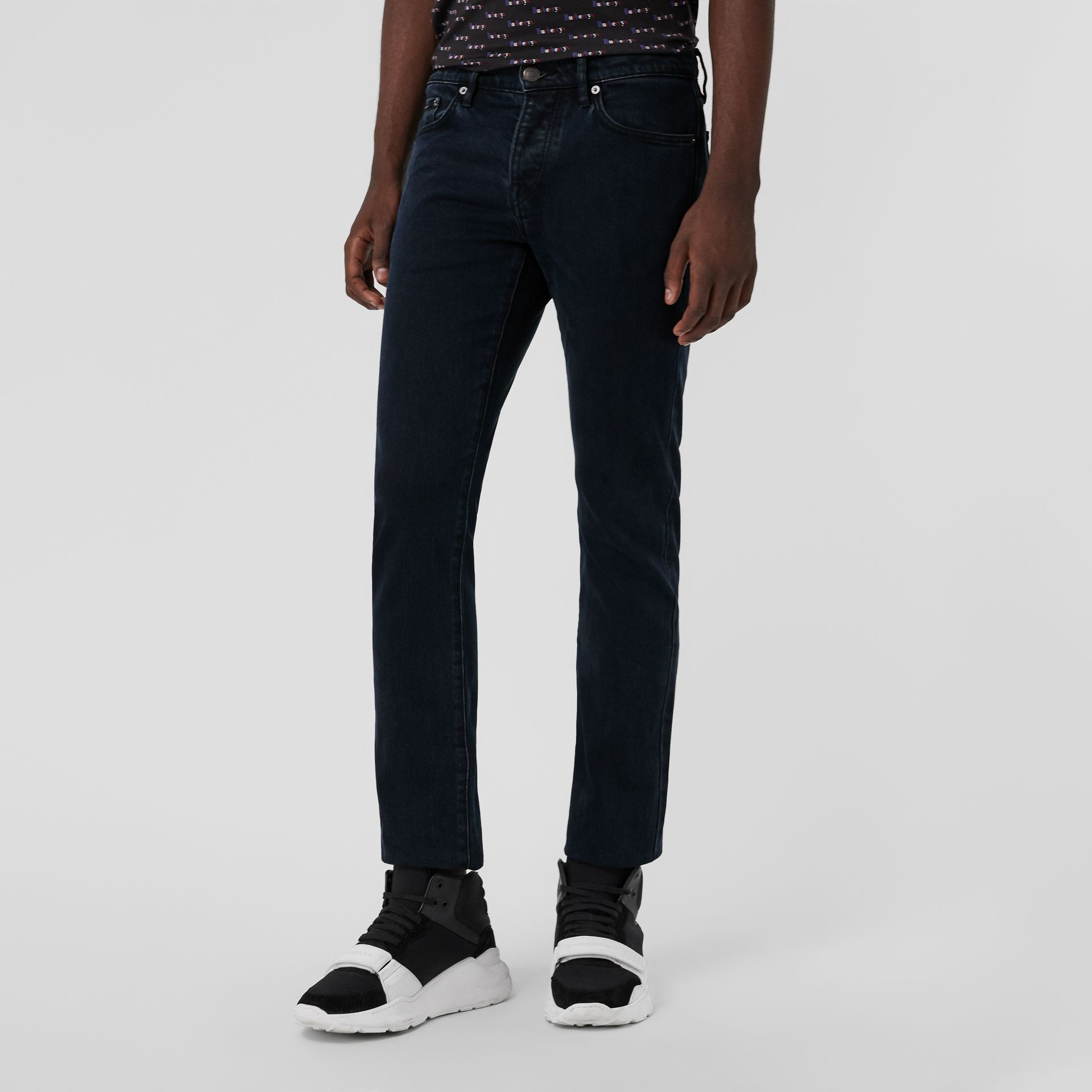 Straight Fit Stretch Denim Jeans in Dark Indigo - Men | Burberry Canada - gallery image 4