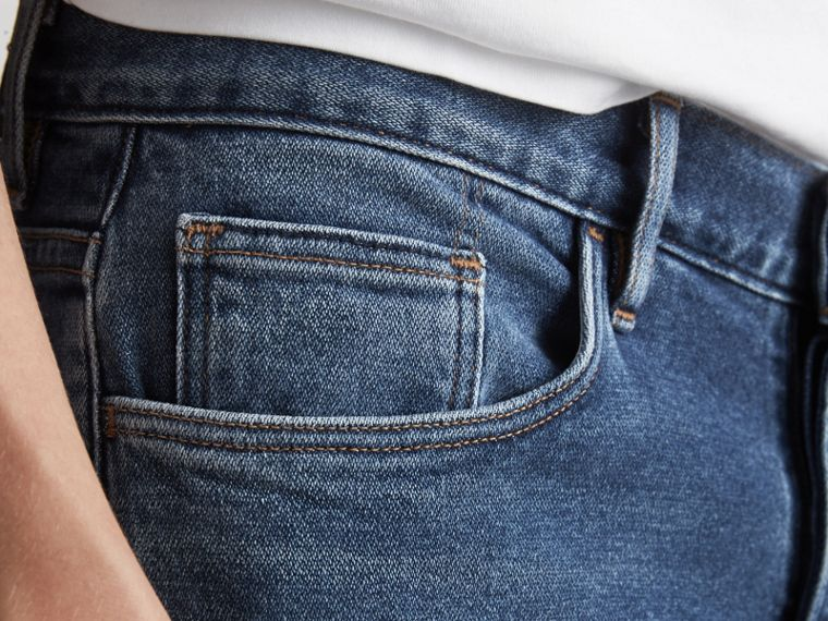 Straight Fit Stretch Japanese Denim Jeans in Mid Indigo - Men | Burberry Singapore - cell image 4