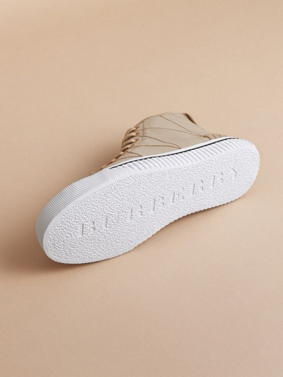 Topstitch Cotton Gabardine High-top Trainers in Honey - Men | Burberry - cell image 3