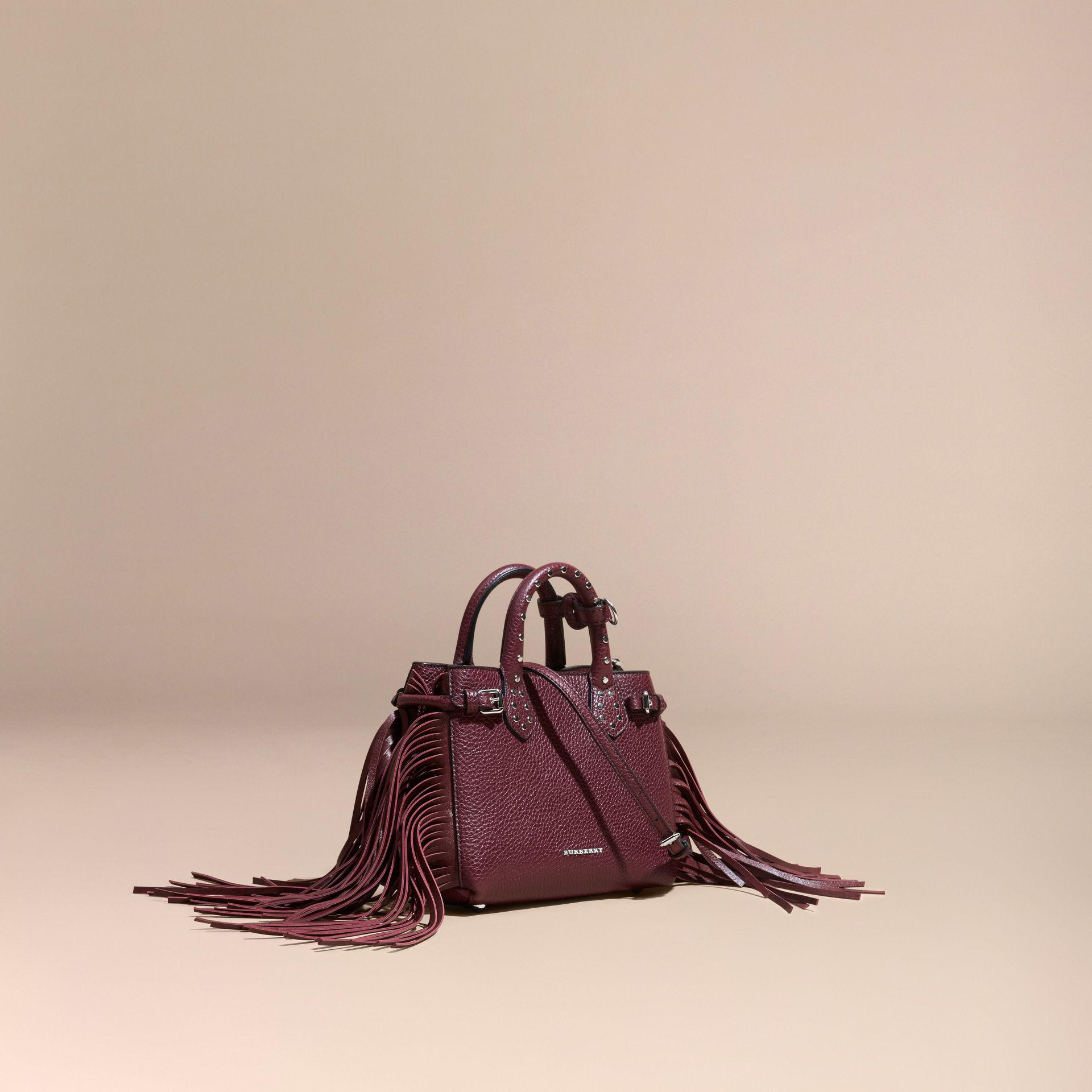 Dark damson The Baby Banner in Fringed Grainy Leather Dark Damson - gallery image 1