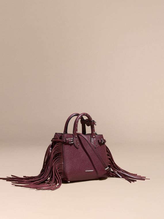 The Baby Banner in Fringed Grainy Leather Dark Damson