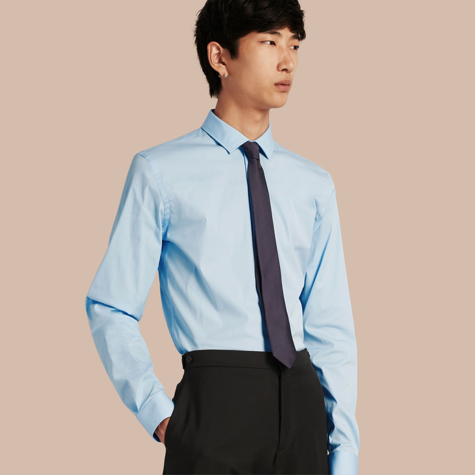 Slim Fit Stretch Cotton Poplin Shirt in City Blue - Men | Burberry - gallery image 1