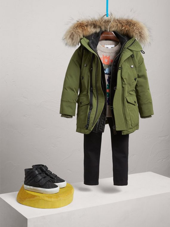 Fur-trimmed Down-filled Hooded Puffer Coat in Sage