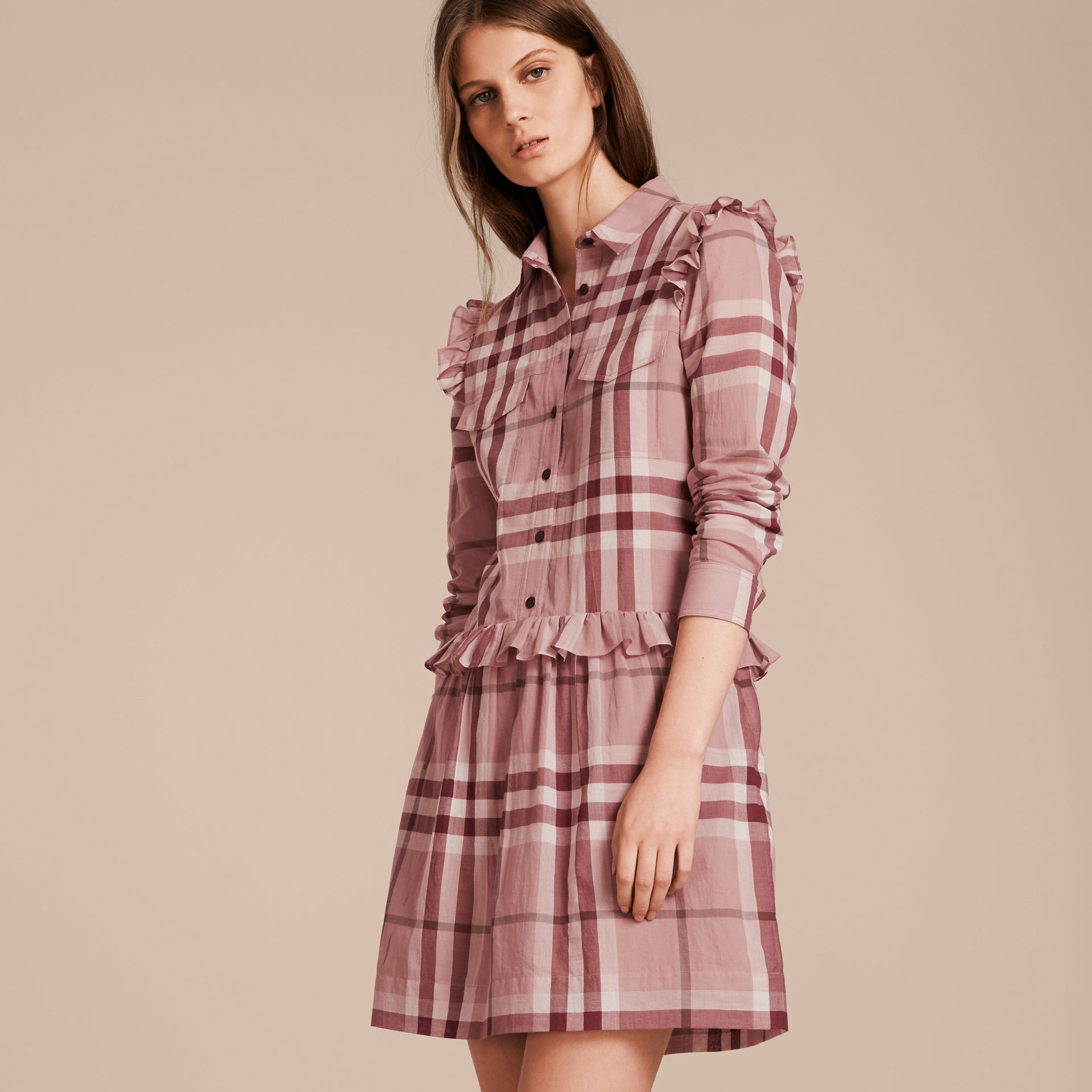 Ruffle Detail Cotton Check Shirt Dress in Antique Pink - gallery image 6