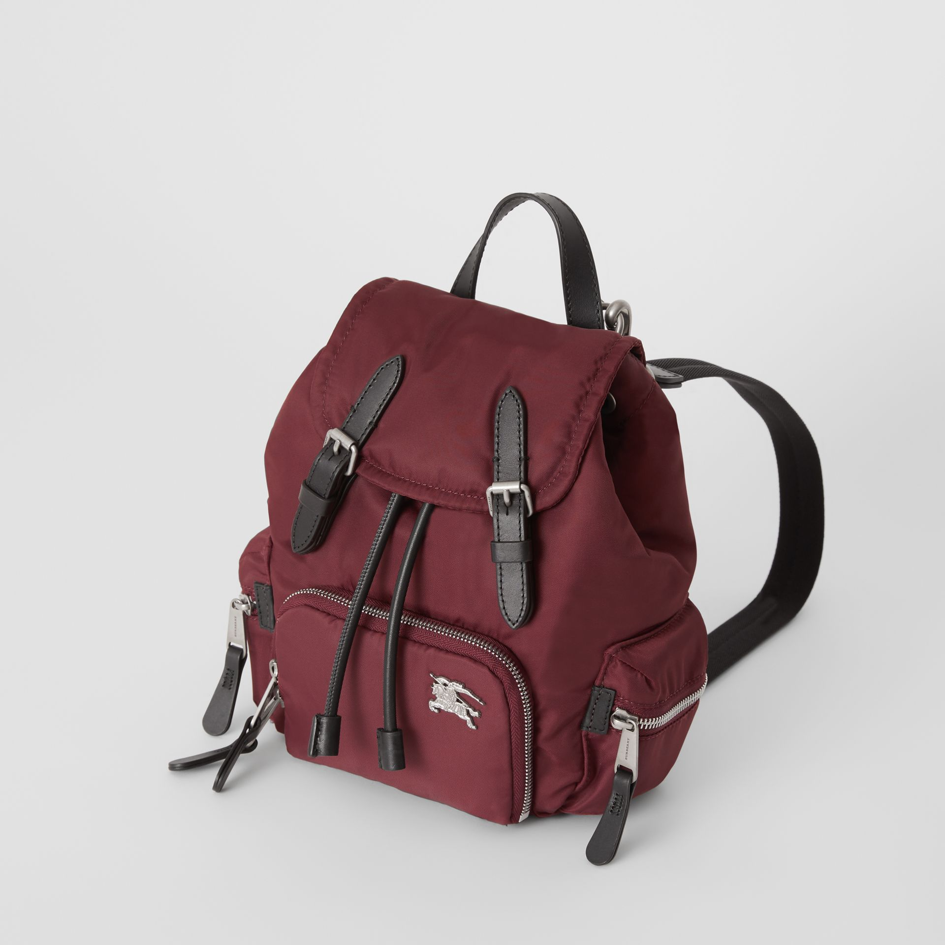 The Small Crossbody Rucksack in Puffer Nylon in Burgundy Red - Women | Burberry Singapore - gallery image 4