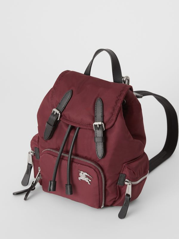 The Small Crossbody Rucksack in Puffer Nylon in Burgundy Red - Women | Burberry - cell image 2