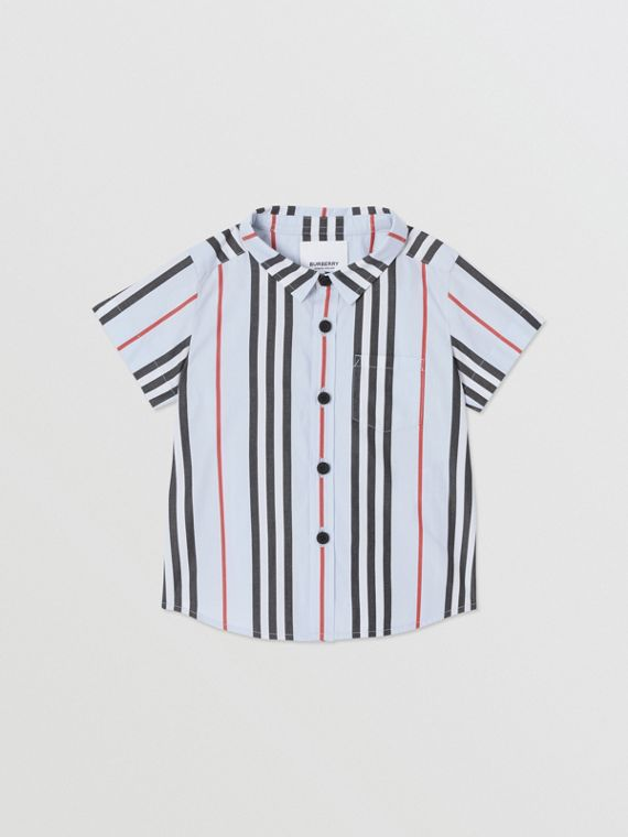 Short-sleeve Icon Stripe Cotton Poplin Shirt in Pale Blue