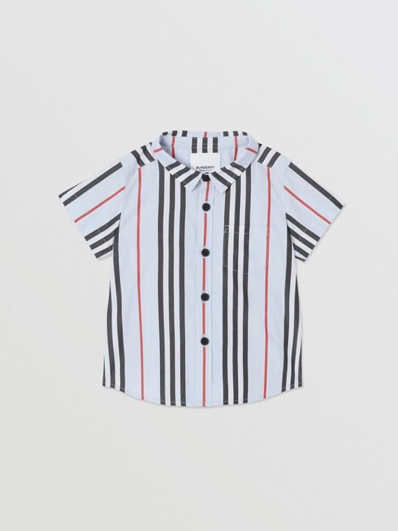 쇼트 슬리브 아이콘 스트라이프 코튼 포플린 셔츠 (페일 블루)