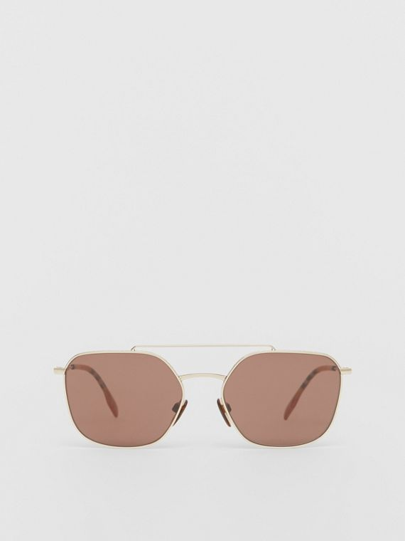 Vintage Check Detail Square Pilot Sunglasses in Yellow Gold