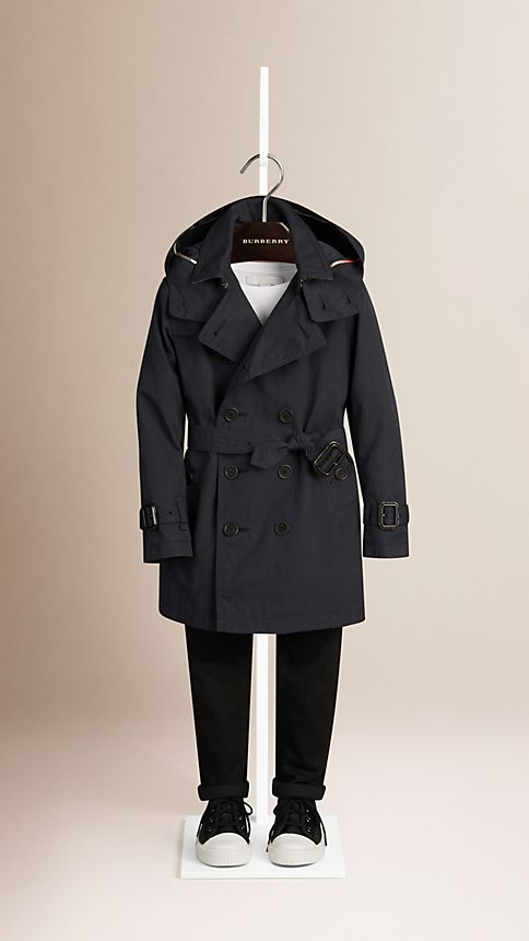 Navy Hooded Cotton Twill Trench Coat Navy - Image 1