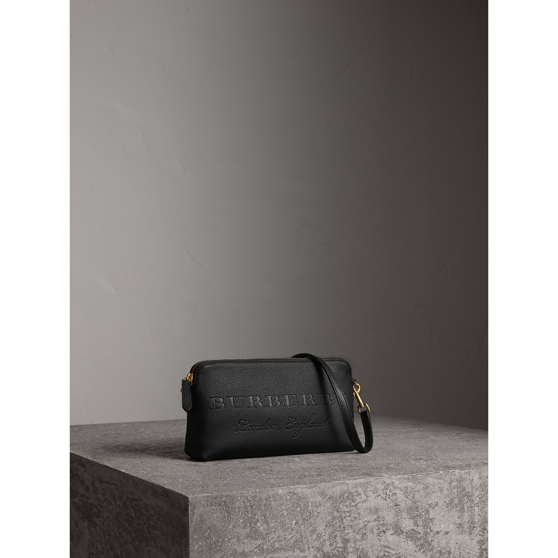 Embossed Leather Clutch Bag in Black - Women | Burberry - gallery image 7