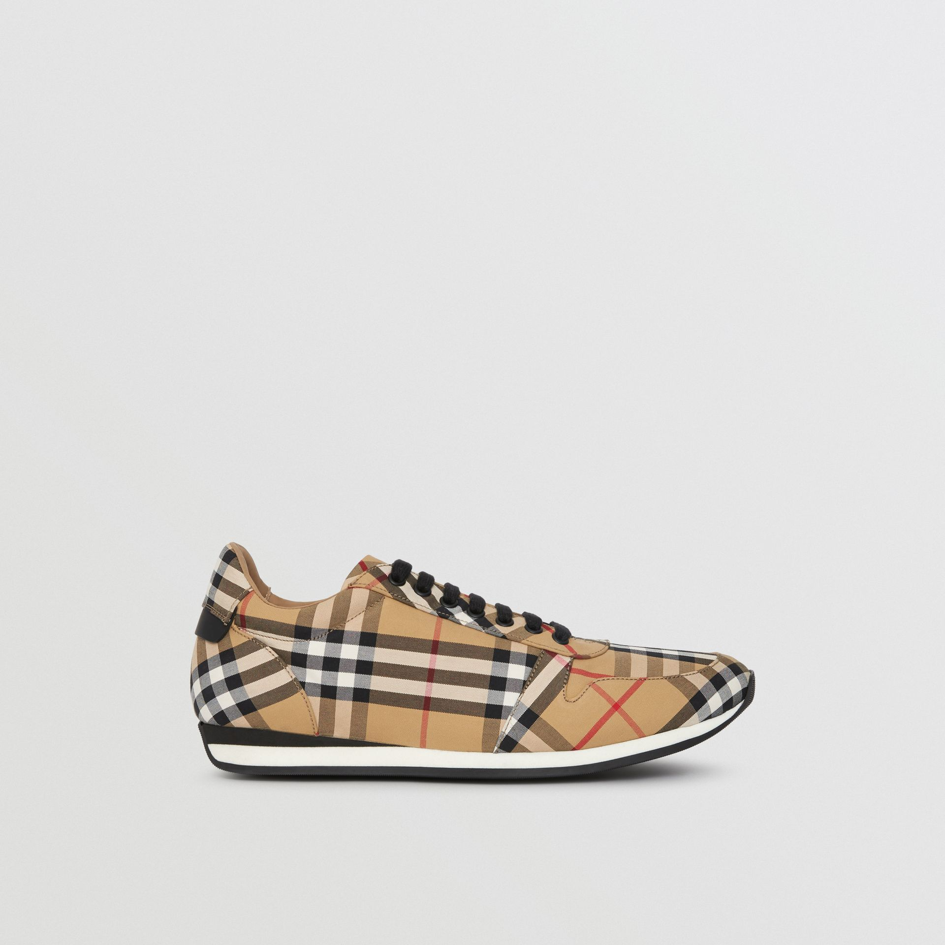 Vintage Check Cotton Trainers in Antique Yellow - Men | Burberry - gallery image 5