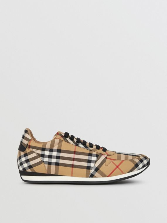 Vintage Check Cotton Trainers in Antique Yellow