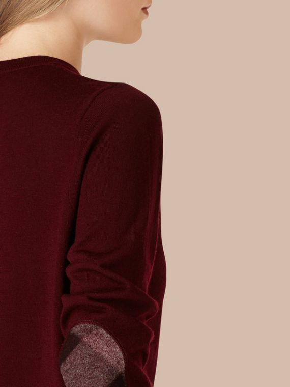 Burgundy red Check Detail Merino Wool Crew Neck Sweater Burgundy Red - cell image 3